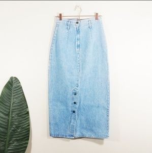 VTG 90's High Waist Mom Denim Maxi Skirt 10 TALL